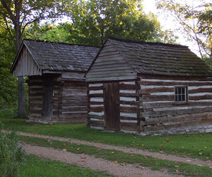 cabin, path, and cottage image