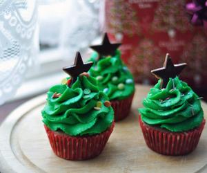 stars, cupcake, and christmas image