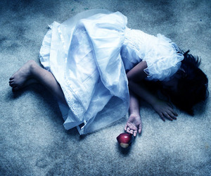 girl, apple, and faint image