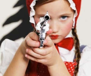 gun, little red riding hood, and kid image