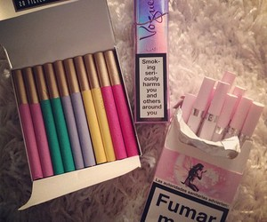 cigarette, smoke, and pink image