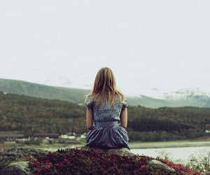blonde, contemplation, and girl image