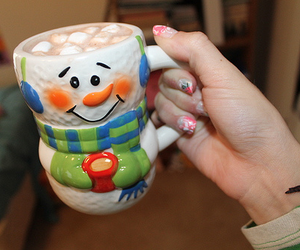 snowman, winter, and hot chocolate image