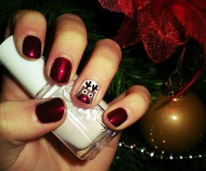 nails, red nails, and reindeer image