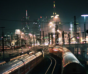 city, train, and light image