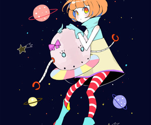 anime, space, and cute image