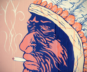 cigarette, smoke, and red indian image