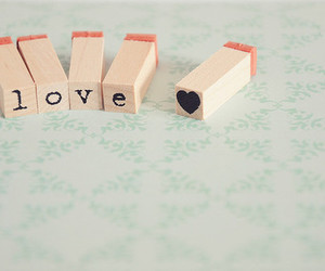 love, heart, and stamp image