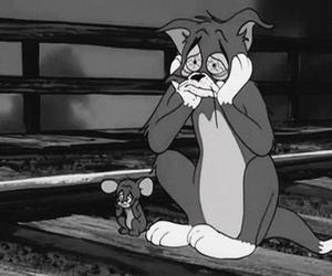 black and white, tom and jerry, and cartoon image