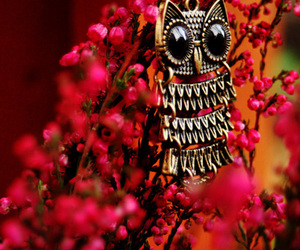 owl, flowers, and necklace image