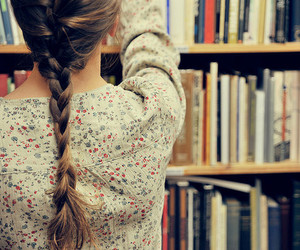 girl, book, and hair image