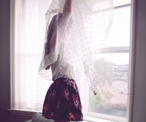 girl, skirt, and window image