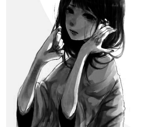 anime, sad, and black and white image