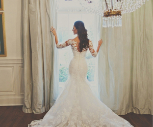 brunette, wedding dress, and fashion image