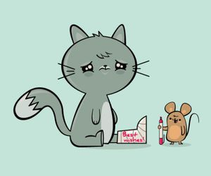 cat, mouse, and cute image