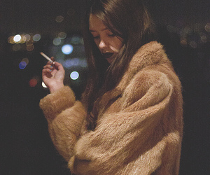 girl, cigarette, and fur image