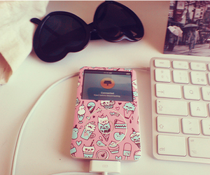pink, ipod, and sunglasses image
