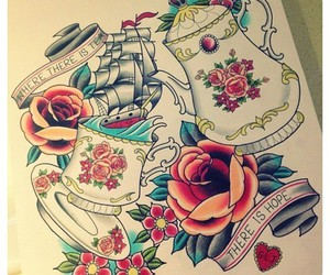 tattoo, art, and rose image