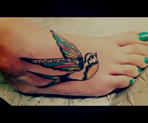 <3, blue, and foot tattoo image