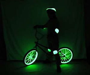 bicycle, light, and neon image