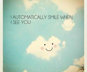 smile, quotes, and clouds image