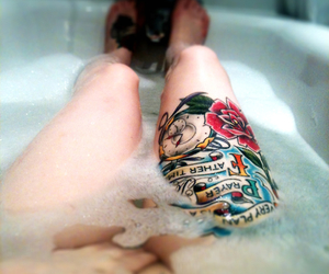 tattoo, bath, and legs image