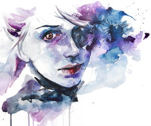 girl, art, and blue image
