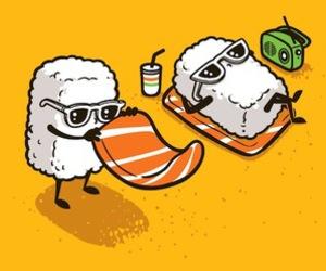 sushi, beach, and sunglasses image