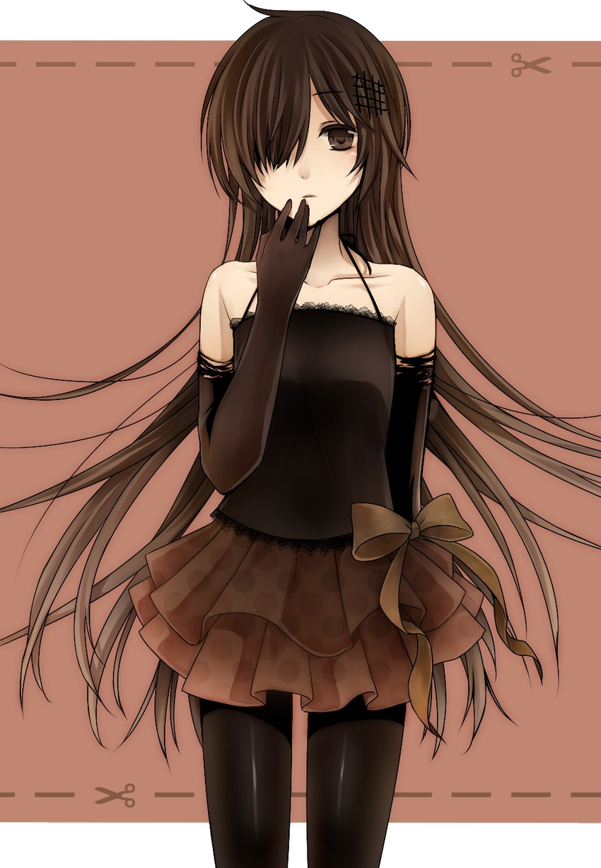 1girl black eyes black hair black legwear chocolate dress elbow gloves gloves hair over one eye itousato long hair original pantyhose personification polka