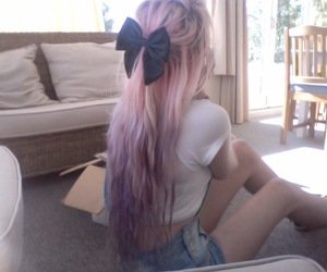 beautiful, pink hair, and style image