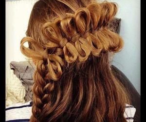 bow, braid, and hair image