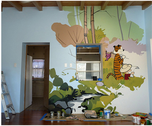 calvin and hobbes, mural, and snoopy image
