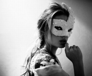 girl, mask, and black and white image