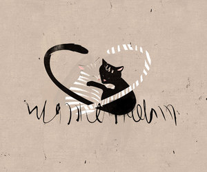 cats, heart, and illustration image