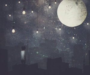 moon, night, and light image