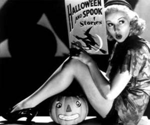 black and white, Halloween, and retro image