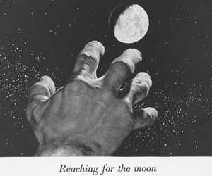 moon, hand, and stars image