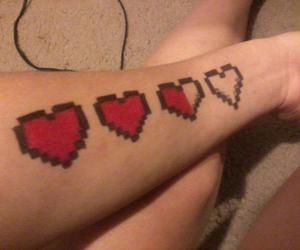 game, hearts, and tattoo image