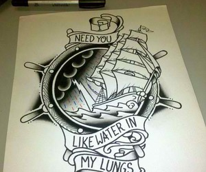 paint, tattoo art, and ship image