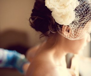 bride, couple, and flowers image