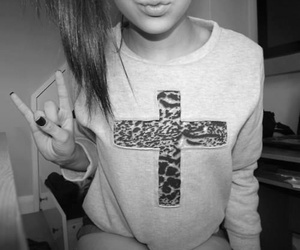 girl, cross, and black and white image