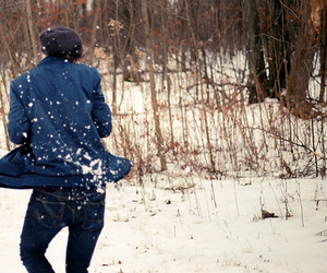 beanie, snow, and winter image