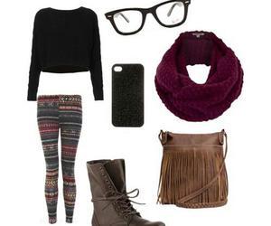 leggings, scarf, and bag image