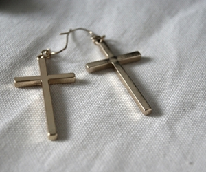 fashion, cross, and earrings image