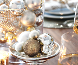 christmas table and silver ornaments image