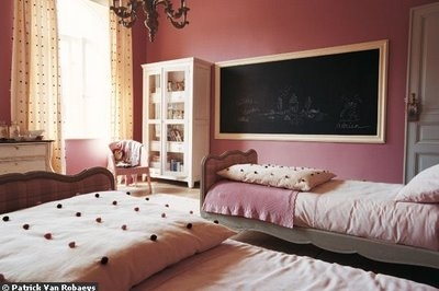 interior, chalkboard, and colors:pink image