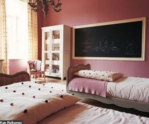 bed, decor, and pink rooms image