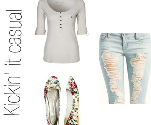 casual, creme, and floral image