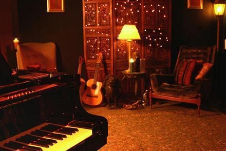 guitar, lamps, and music image