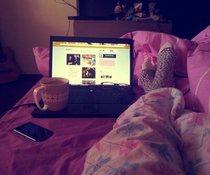 bed, girl, and laptop image